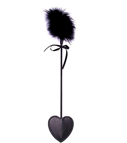 Feather Leather Paddles Supply Straight or Knobbed Whip,Lace Bow for Sports Paddle with Heart Shaped Cutouts for Sports Crop Solid Rod with Soft or Thick Leather Tails