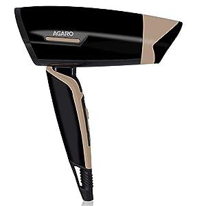 AGARO HD-6100 Hair Dryer with 1000-Watt motor, Concentrator & Foldable Handle (Black)