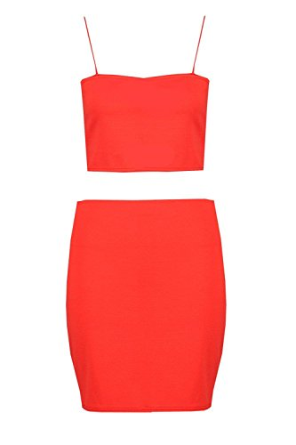 Boohoo Womens Sarah Strappy Crop & Mini Skirt CO-Ord Set In Sahara Red Size (Sahara Mini Set)