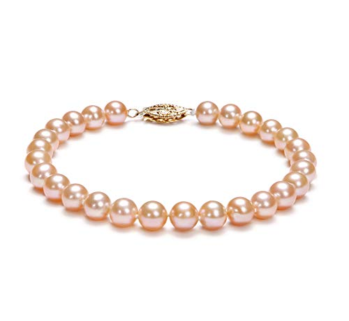 Pink 6-7mm AA Quality Freshwater Gold filled Cultured Pearl Bracelet For Women-8 in length
