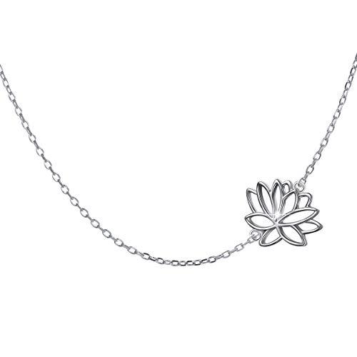 Sterling Silver Jewelry Sideways Rising Lotus Flower Choker Necklace for Women Lady