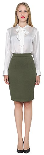 Marycrafts Women's Work Office Business Pencil Skirt L Olive
