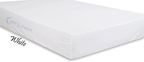 "SRP Linen 500-Thread-Count Egyptian Cotton Super Soft Extra Deep Pocket Fitted Sheet/Bottom Sheet Queen Solid White Fit Up to 21"" inches Deep Pocket Fully Elastic All Around"
