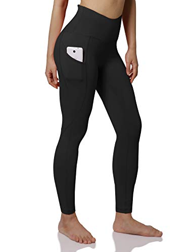 ODODOS Women's High Waist Yoga Pants with Pockets,Tummy Control,Workout Pants Running 4 Way Stretch Yoga Leggings with Pockets,Black,XX-Large