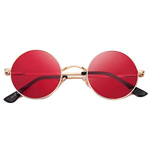 GLEYEMOR Retro Small Round Polarized Sunglasses for Women Men John Lennon Style Circle Hippie Glasses