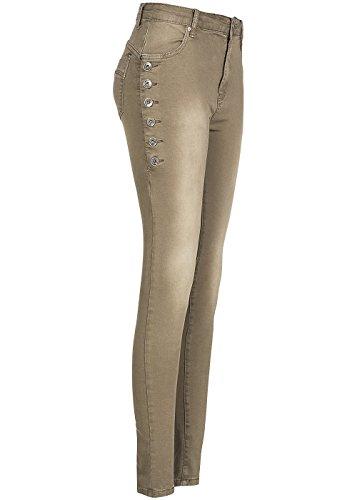 Lateral nbsp;bolsillos Decoración De Style Marrón Botones Mujer Vaqueros Con Pantalones Hailys 4 Y1wzq