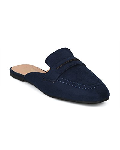 Mule Flat Betani by Suede Loafer Women Faux HG74 Suede Faux Alrisco Slip Collection on Navy avX0xfwq