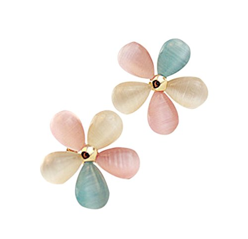 Newest trent Hot Sale 1 Set Of Elegance 5 Petals Flower Floral Gem Stone Crystals Earrings Ear Studs - Multicolor (Five Petals Rhinestone Flower)