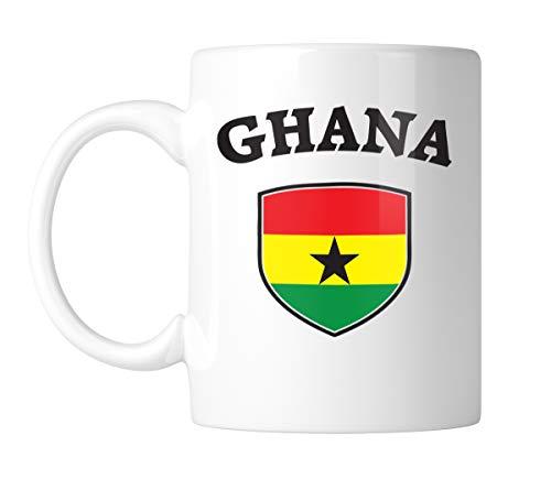 Amdesco Ghana Shield Ghanaian Flag 11 Oz White Coffee Mug (1 Mug)