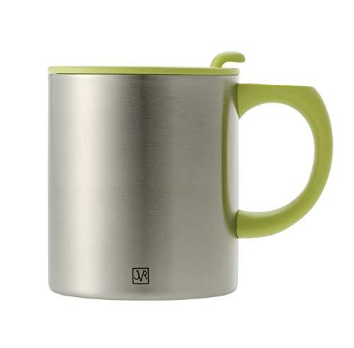 JVR Stainless Steel Vacuum Insulated Coffee Mug - 13-oz Picnic Travel Mug for Coffee, Tea, Hot Chocolate - Comfortable Handle, Shatterproof Lid, BPA-free, Double Wall, Thermal Coffee Cup - Lime Green