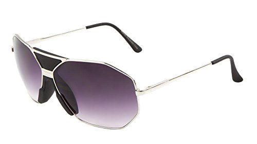 Goodfellas Oversized Octagon Aviator Sunglasses (Black & Silver Frame, - Gazelle Shades
