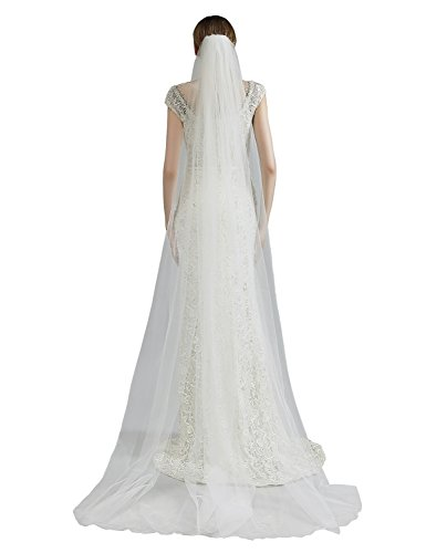 anmor Womens 2T Long Wedding Veils Soft Tulle Bridal Veil with Comb White Ivory