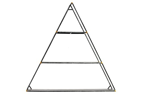 Black Metallic Finish - Urban Trends 12413 Metal Triangular Wall Shelf with 3 Tiers Metallic Black Finish