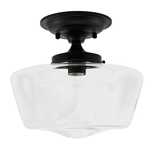 (URBAN 33 F21617-50 Clear Semi-Flush Opal Glass Schoolhouse Fixture, Black Finish)
