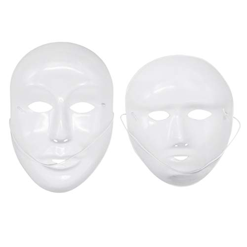 Amosfun 24pcs Blank Painting Mask Male Female Full Face Mask Halloween Costumes DIY Mask -
