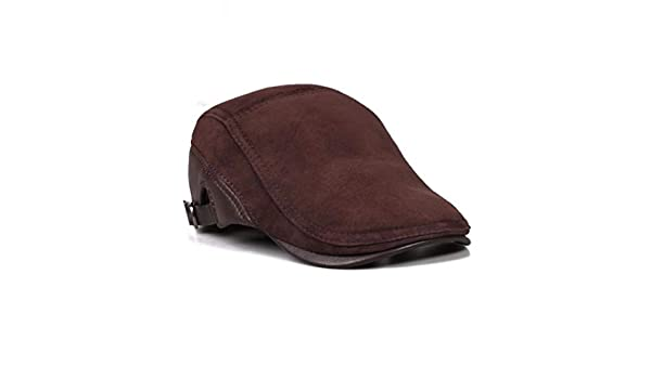 LIUXINDA-PM Mens Autumn and Winter Leather hat Cotton hat Outdoor Leisure Warm Earmuffs