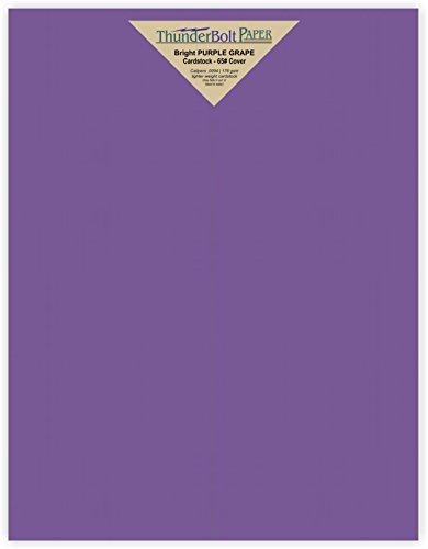 50 Bright Purple Grape 65# Cardstock Paper 9'' X 12'' (9X12 Inches) Frame and Sketch Pad Size - 65Cover/45Bond Light Weight Card Stock - Bright Printable Smooth Paper Surface by ThunderBolt Paper