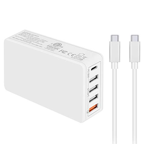 PD Charger and QC 3.0 Quick Charger Premium 5-Port 63W Wall Charger with Power Delivery + QC 3.0 Fast Charging Compatible with MacBook Pro/Air,iPad Pro,iPhone, Samsung Galaxy, Huawei and More (White)