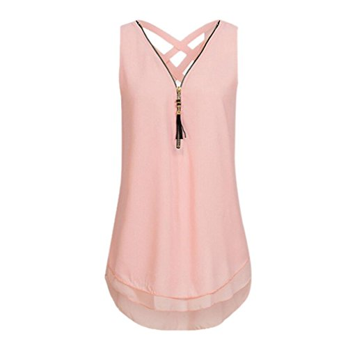 Women Loose Sleeveless Tank Top Cross Back Hem Layed Zipper V-Neck T Shirts Tops (Pink, XL) -
