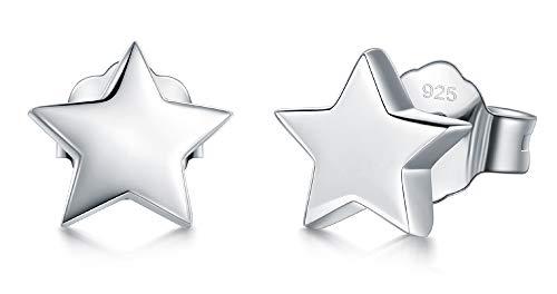 - 925 Sterling Silver Stud Earrings, BoRuo Star Stud Earrings