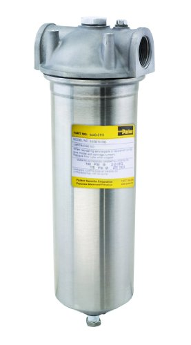Parker BSSB10-3/4SD Cartridge Filter Housing, Stainless Steel 316, Requires One Cartridge X 10'' Length; 5 gpm, 3/4'' NPT by Parker