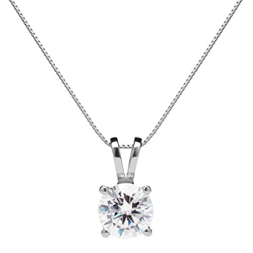 14K Solid White Gold Pendant Necklace | Round Cut Cubic Zirconia Solitaire | 1.0 Carat | 16 Inch .60mm Box Link Chain | With Gift Box