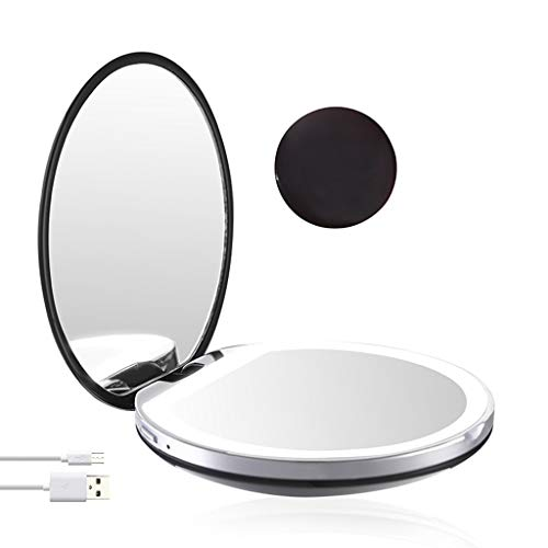 LiboboLED Lighted Travel Makeup Mirror 1x/3x Magnification Folding Mirror (Black)