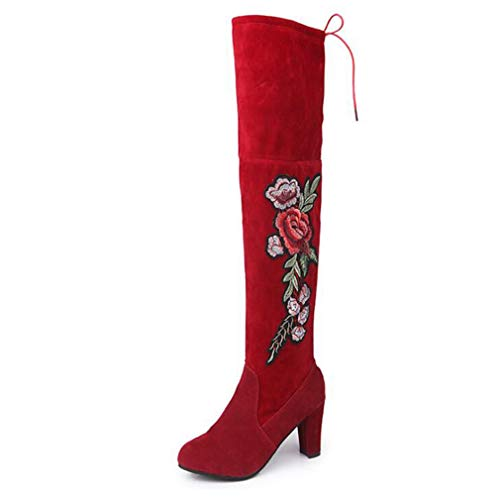 T-JULY Ladies Winter High Boots Exquisite Embroider Flower Flock Knee-High Boots for Women Fashion Boots Plus Size 34-43
