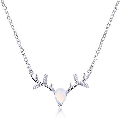 HWADMW Con Incrustaciones de Piedra Lunar sintética Reno s925 Collar de Plata esterlina Femenina joyería de clavícula Corta joyería de Moda Coreana