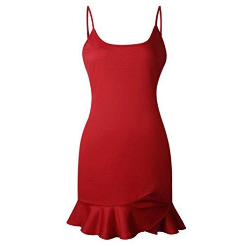 Women Lady Sexy Spaghetti Strap Halter Ruffle Off Shoulder Sleeveless Mini Dress Ruffle Irregular Mini Dress Summer Beach (M, Red) ()