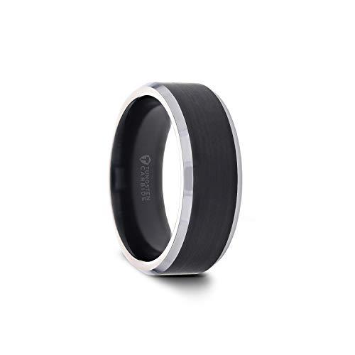 ASTON 8mm Black Brushed Center Tungsten Wedding Ring with Polished Beveled Edges - Designer Wedding Edge Ring