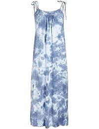 Women's Slit Midi Dress with Tie Straps