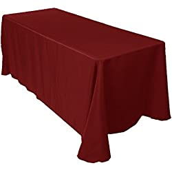 "Gee Di Moda Rectangle Tablecloth - 90 x 132"" Inch - Burgundy Rectangular Table Cloth for 6 Foot Table in Washable Polyester - Great for Buffet Table, Parties, Holiday Dinner, Wedding & More"