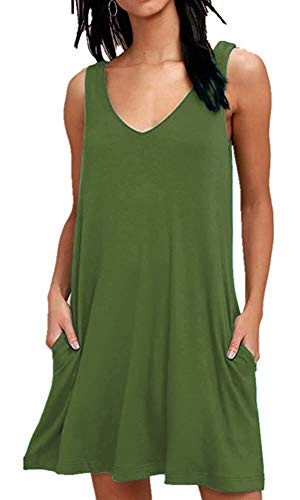 MISFAY Women's Summer Casual T Shirt Dresses Beach Cover up Plain Tank Dress with Pockets (S, Army - Dress Womens Tank Green