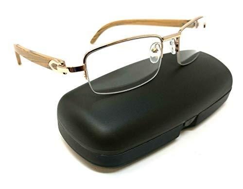 (Debonair Slim Half Rim Rectangular Metal & Wood Eyeglasses/Clear Lens Sunglasses - Frames (Rose Gold & Light Brown Wood w/Case,)