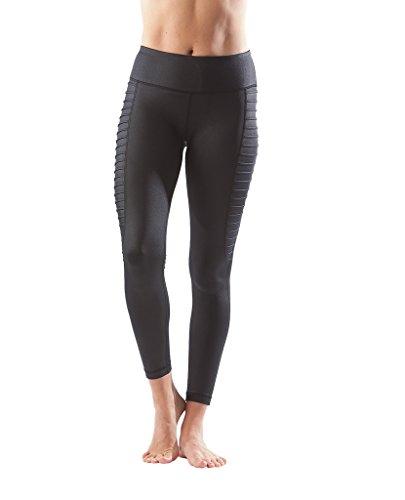 (90 Degree By Reflex - Fashion Yoga Leggings with Sleek Mesh Panels - Black -)