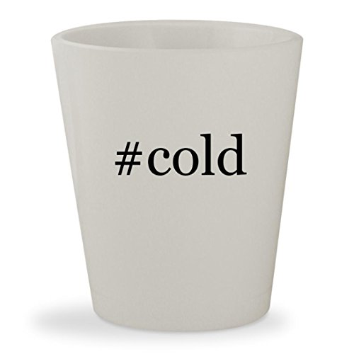 #cold - White Hashtag Ceramic 1.5oz Shot Glass (Cold Austin Stone Mask Steve)