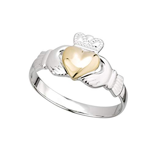 (10k Gold Claddagh Ring Women's Irish Sterling Silver Band Made in Ireland Sz 7.5)