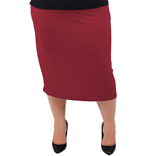 - Stretch is Comfort Women's Plus Size MIDI Skirt Burgundy 2X