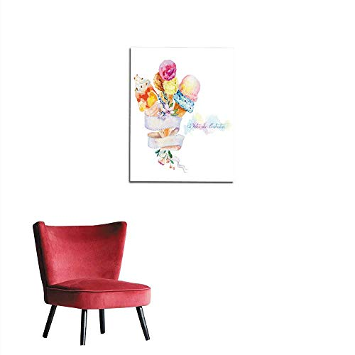- longbuyer Poster Wall Decor Illustration with Ribbon for Text and ice Cream Mural 24