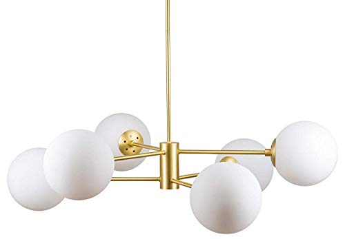(IJ INJUICY 6-Lights Glass Chandelier Pendant, Satin Brass with White Frosted Globes, Branch Molecule Magic Bean Pendant Light for Living Dining Room, Restaurant, Bedroom (C))