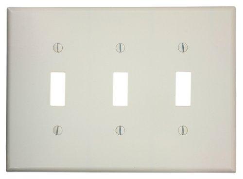 Leviton 80511-T 3-Gang Toggle Device Switch Wallplate, Midway Size, Light Almond ()