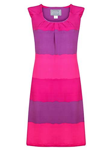 Pink And Purple Striped Dress - 1