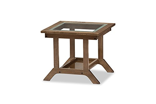 Baxton Studio Genie Mid-Century Modern Wood Living Room Glass-Top End Table, Regular, (Wholesale Interiors Glass Coffee Table)