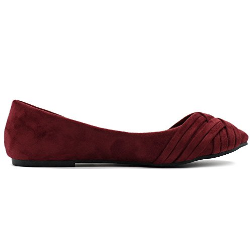 Ollio Damen Ballettschuh Cute Casual Comfort Flat Burgund