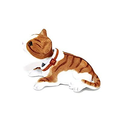 Batty Bargains Giddy Bobblehead Tabby Cat with Auto Dashboard Adhesive (Brown): Toys & Games