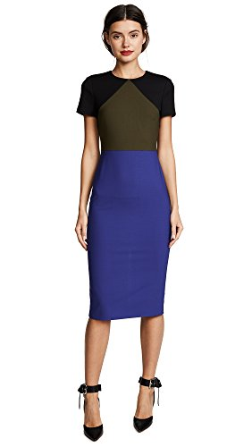 Diane von Furstenberg Women's Tailored Midi Dress, Electric Blue/Olive/Black, 10