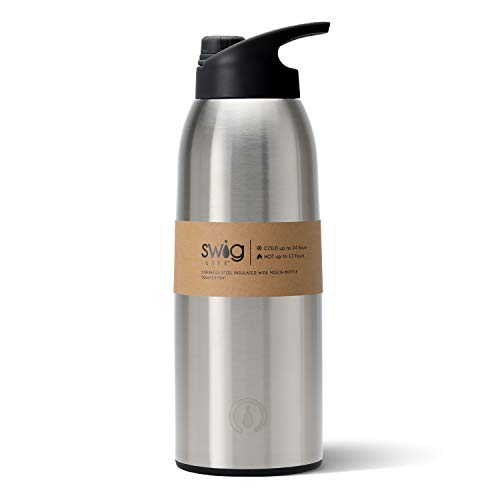 Swig Life Stainless Steel Triple Insulated 50oz Wide Mouth Travel Bottle with Twist and Pour Spout in Stainless Steel