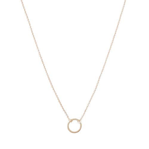 HONEYCAT Mini Karma Open Circle Orbit Necklace in 18k Rose Gold Plate | Minimalist, Delicate Jewelry (Rose ()