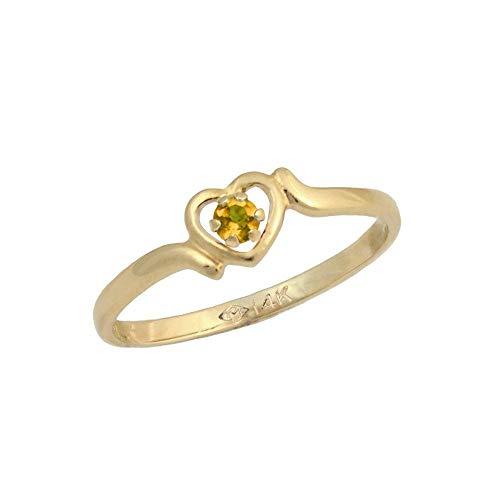 3 1/2 Children 14K Yellow Gold Genuine Citrine November Birthstone Heart Ring